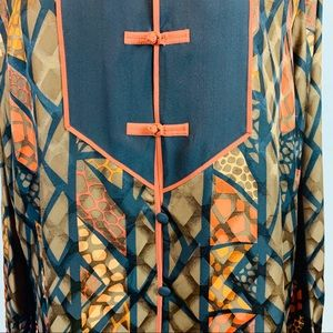 Amazing Abstract Print Silk Pullover Tunic Top L